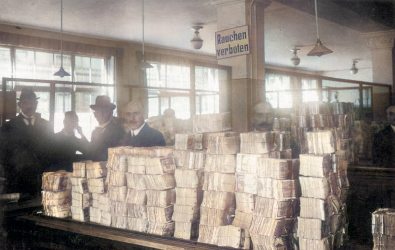 Money distribution area in Berlin, 1923 Image by The German Federal Archive