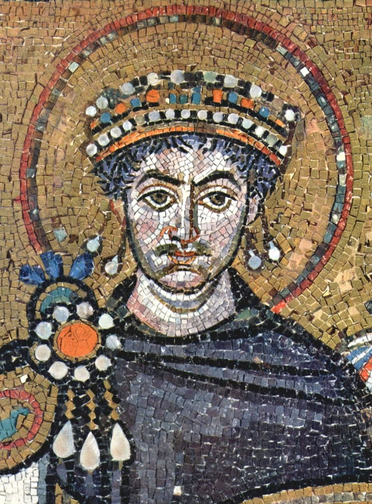 Justinian I depicted on a mosaic in the church of San Vitale, Ravenna, Italy