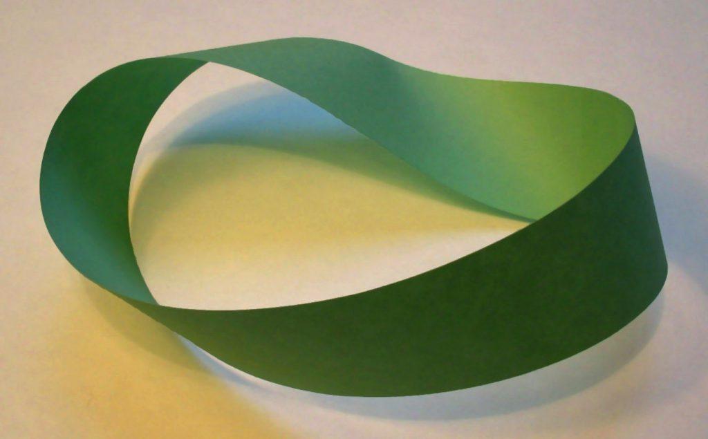 A photograph of a green paper Möbius strip.