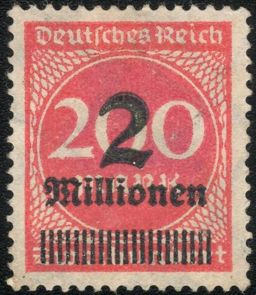2 million marks Domestic postage 1 to 9 October 1923
