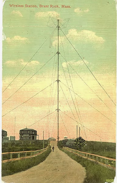 Penny Postcard of Reginald Fessenden's Brant Rock, Massachusetts radio tower