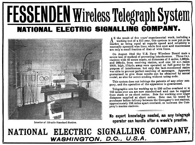 Advertisement for the National Electric Signalling Company which appeared on page xiv of the April 14, 1905 issue of The Electrician magazine