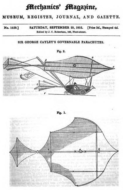 Cayley's glider in Mechanics Magazine, 1852