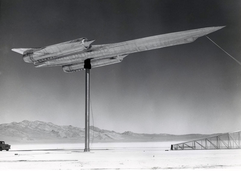 A-12 measuring the radar reflection (radar cross section) at Groom Lake