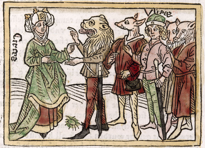 Circes: illustration of one of the women featured the 1374 biographies of 106 famous women, De Claris Mulieribus, by Boccaccio – from a German translation of 1541