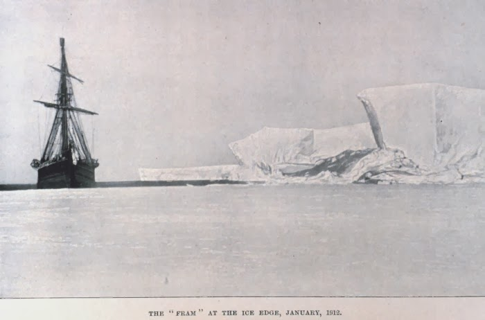"The ""Fram"" at the ice edge, January 1912"