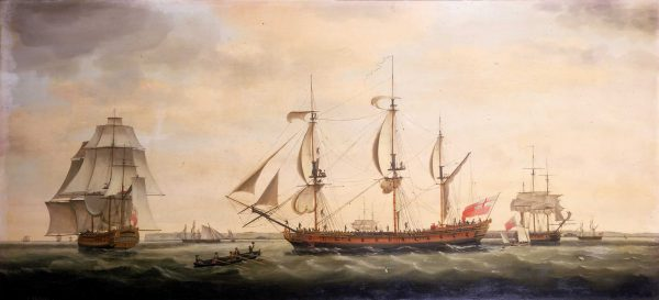 The East Indiaman Royal George, 1779. Royal George was one of the five East Indiamen the Spanish fleet captured in 1780.