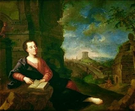 Johann Joachim Winckelmann against a classical landscape, painting c. 1760