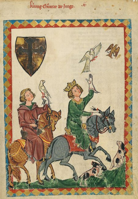 King Konradin, the grandson of Frederick II, lets a falcon soar while hunting with his friend Frederick, Margrave of Baden. Codex Manesse, Heidelberg University Library, Codex Pal. Germ. 848, fol. 7r.