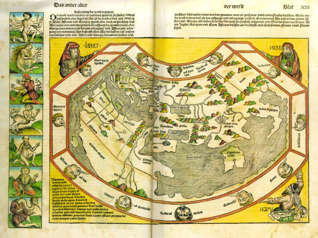 "World map (sheet 12v/13r): ""This one is therefore called an umbkrais because it is simply rotund and rounded or spherical."" The corners show the biblical progenitors of Europe, Asia and Africa: Japhet, Sem and Cham."