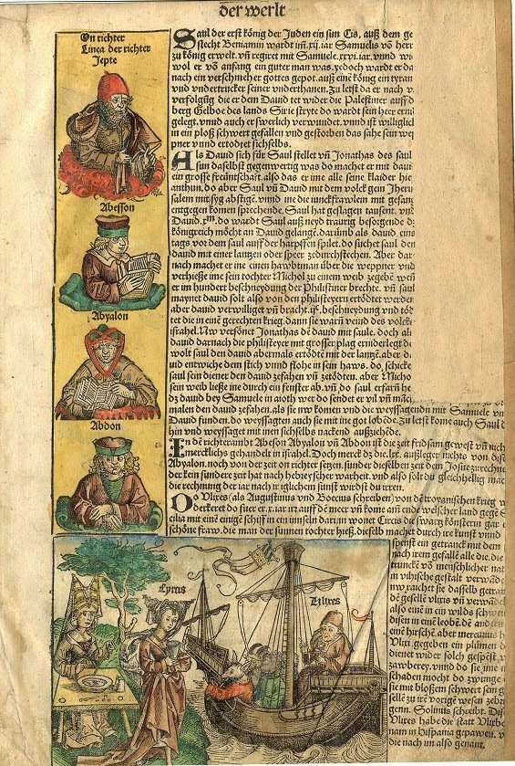 "This page of the Nuremberg Chronicle describes ""Saul, the first king of the Jews"", David, Samuel, Jonathon and others."
