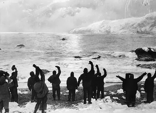 """""""All Safe, All Well"""" allegedly depicting Shackleton's return to Elephant Island August 1916"""