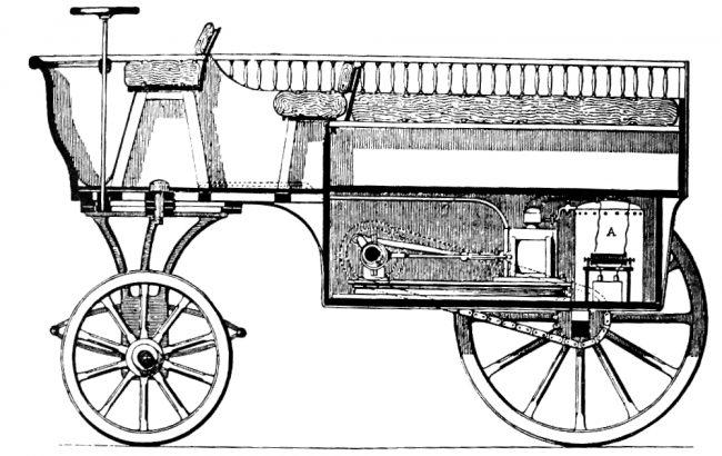 """""""Hippomobile"""" by Étienne Lenoir, c. 1860, contemporary depiction, published in Le Monde illustré (June 16th, 1860)."""