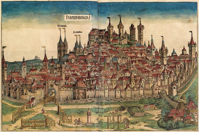 The - rebuilt - Hadermühle Stromers in a Nuremberg city view from 1493. Like all paper mills it was outside the city walls (the building complex in the lower right corner) due to the stench and noise.