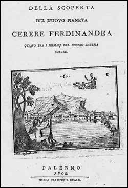 Front Cover of Piazzi's book on the discovery of Ceres