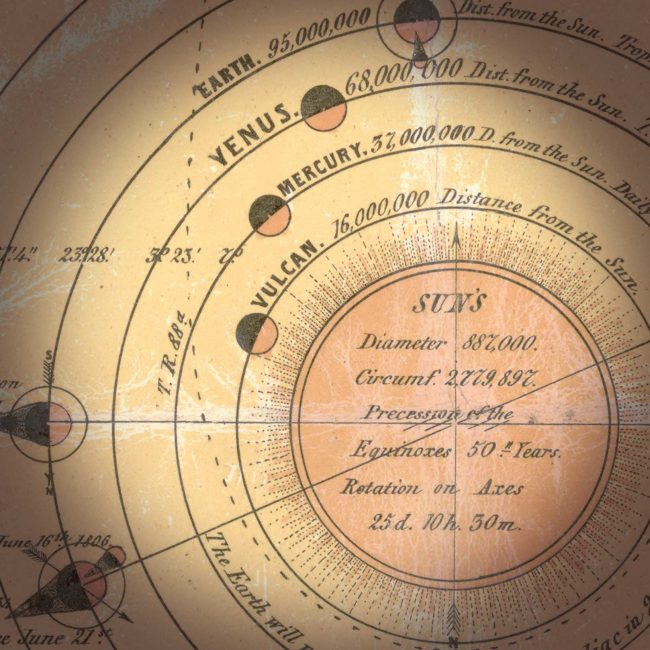 1846 lithography about the solar system. Detail: The hypothetical planet Vulcan circling the sun at close distance.