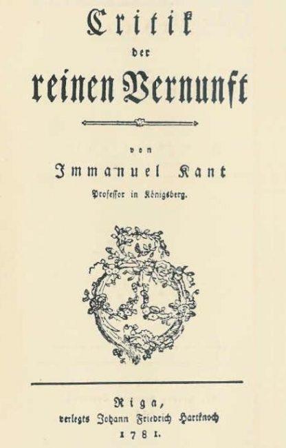 Kritik der reinen Vernunft, title page of the first edition of 1781