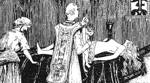 "Catherine Monvoisin and the priest Étienne Guibourg perform ""Black Masses"" for the mistress of King Louis XIV of France, Madame de Montespan (lying on the altar)."