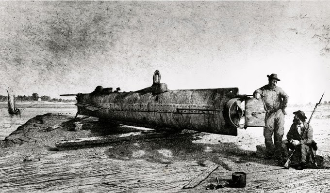 Drawing of the H. L. Hunley. Based on a photograph taken in 1863