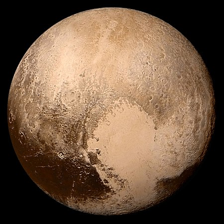 Full-disc view of Pluto in near-true color, imaged by New Horizons