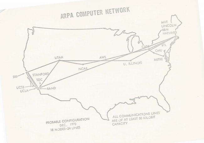 The map of ARPANET in December 1970, it contains 18 Nodes and 24 Lines.