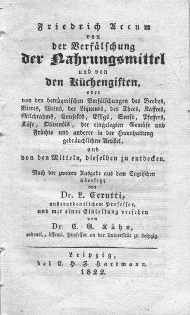 """Title page: """"Von der Verfälschung der Nahrungsmittel und von den Küchengiften"""", 1822"""
