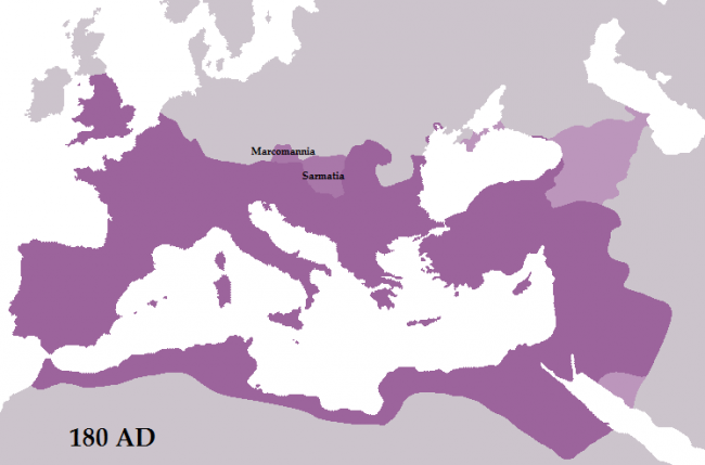 The Roman Empire during the reign of Marcus Aurelius. His annexation of lands of the Marcomanni and the Jazyges - perhaps to be provincially called Marcomannia and Sarmatia - was cut short in 175 by the revolt of Avidius Cassius and in 180 by his death. The light pink territory to the east is Roman dependencies - the Kingdoms of Armenia, Colchis, Iberia, and Albania.