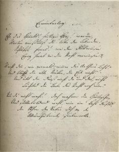 "Hölderlin's autograph of the first 3 stanzas of his ode ""Ermunterung"" (""Exhortation"")"