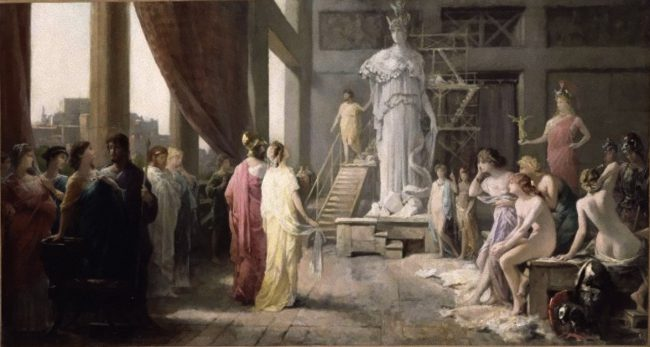 Painting by Hector Leroux (1682–1740), which portrays Pericles and Aspasia admiring the gigantic statue of Athena in Phidias' studio