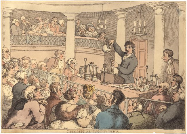 Chemical Lectures, contemporary caricature by Thomas Rowlandson. The inscription Surrey Institution on the door frame and the title Accum's Lectures on the dust jacket held by the man sitting on the left under the corner both indicate that this image likely depicts Accum