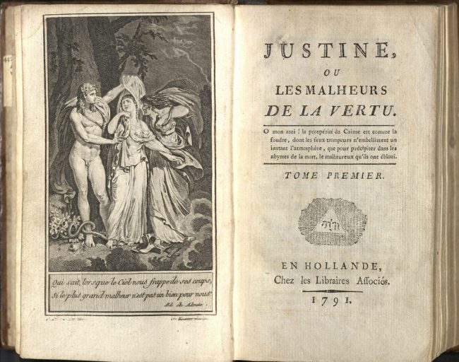 The first page of Sade's Justine, one of the works for which he was imprisoned