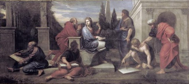 Aspasia in conversation with Greek philosophers, Michel Corneille the Younger (1642-1708), Versailles