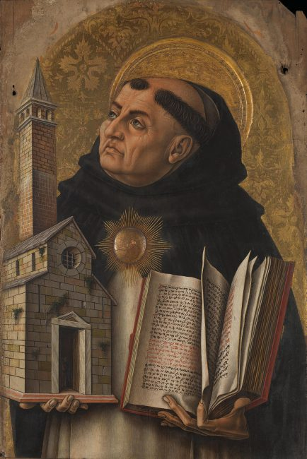 Thomas Aquinas, An altarpiece in Ascoli Piceno, Italy, by Carlo Crivelli (15th century)