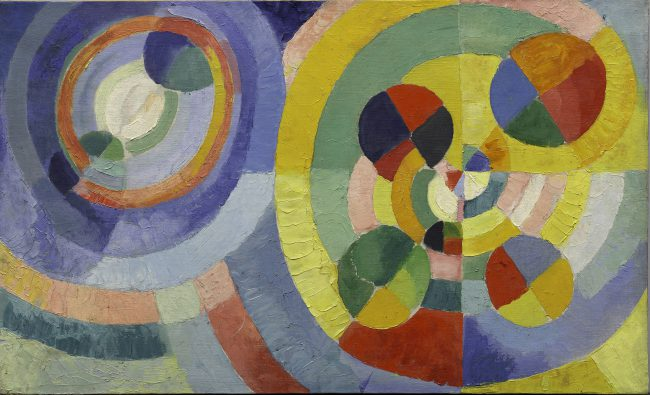 Robert Delaunay, 1930, Circular Forms, oil on canvas, 67.3 × 109.8 cm, Solomon R. Guggenheim Museum
