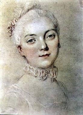 A portrait of Madame du Barry by Francois-Hubert Drouais