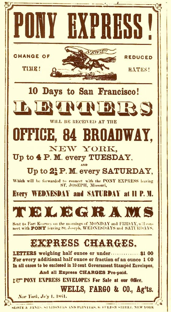 Poster from the Pony Express, advertising fast mail delivery to San Francisco. (1869)