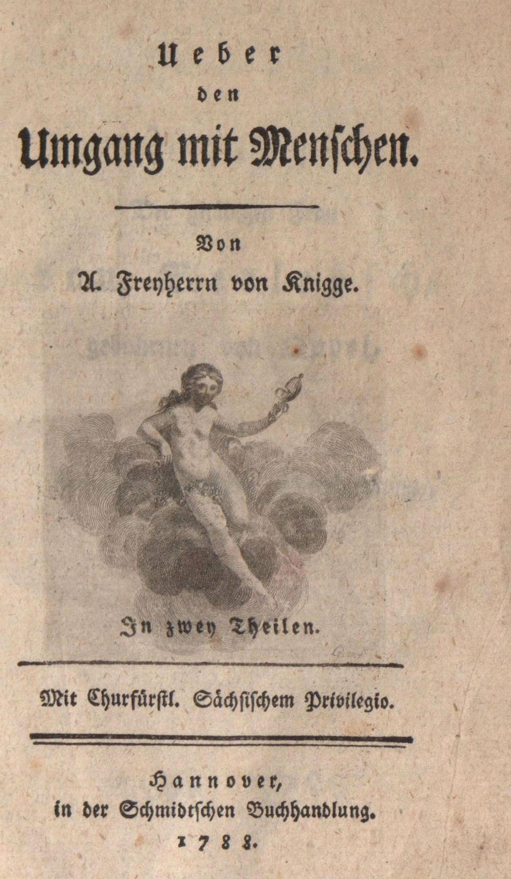 Titelblatt von Adolph Knigges Werk Über den Umgang mit Menschen (1. Band, 1. Auflage 1788)
