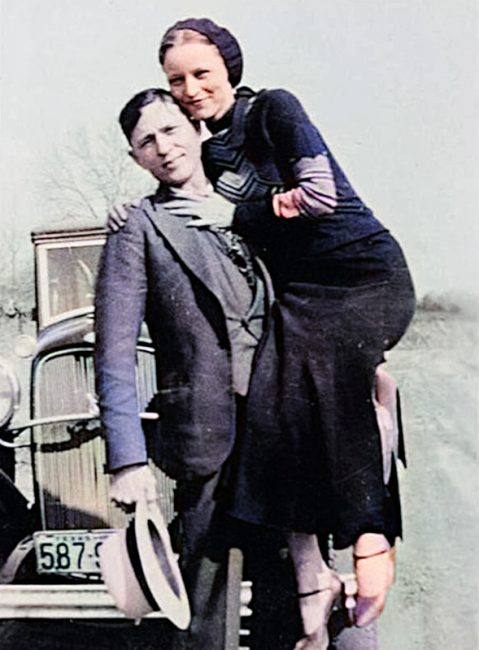 Bonnie Parker and Clyde Barrow between 1932 and 1934