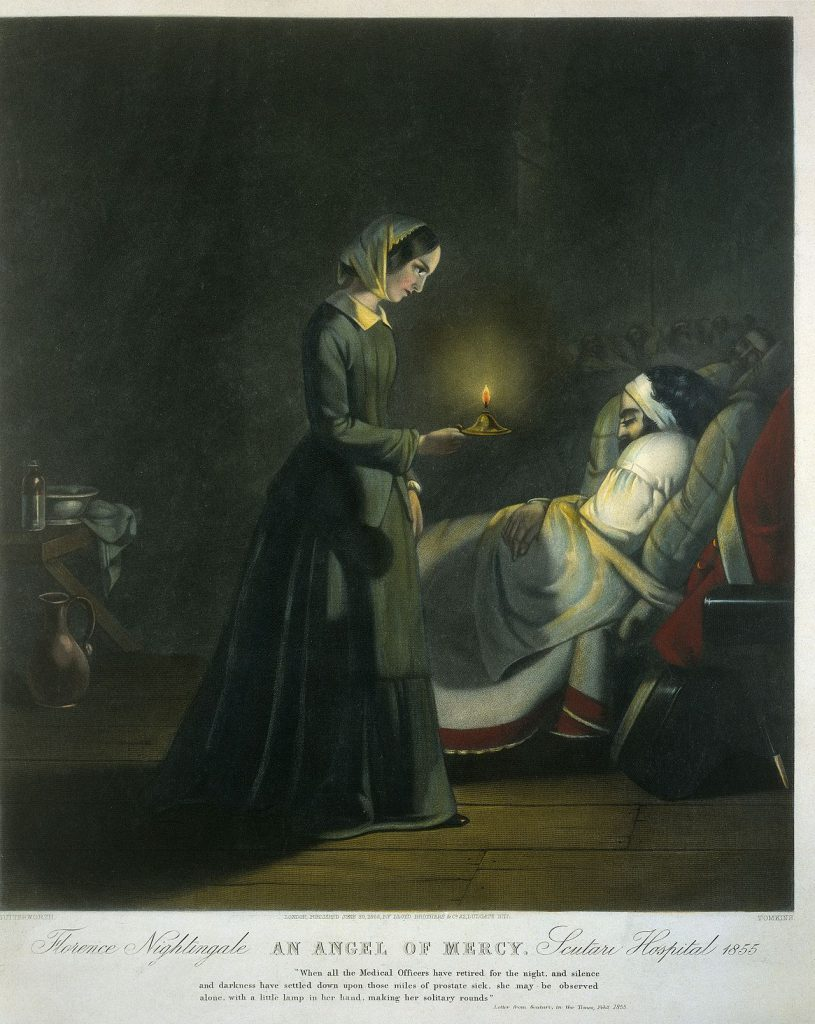 Florence Nightingale, an angel of mercy. Scutari hospital 1855.