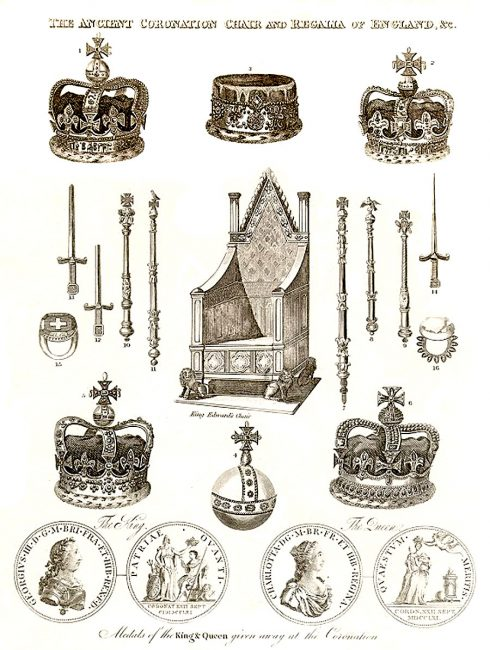 The crown jewels of the monarchs of the United Kingdom on an engraving from 1814.