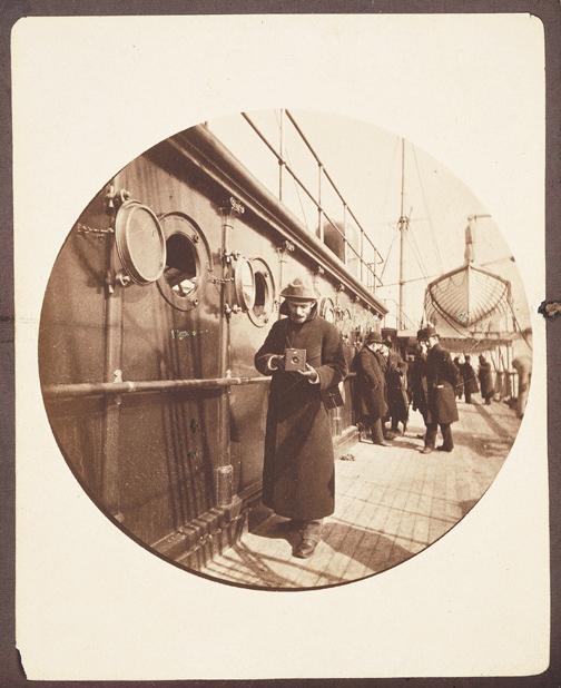 George Eastman with a Kodak camera on board the S. S. Galia photograph by Frederick Fargo Church, 1890