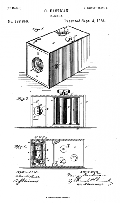 U.S. patent no. 388,850, issued to George Eastman , September 4, 1888