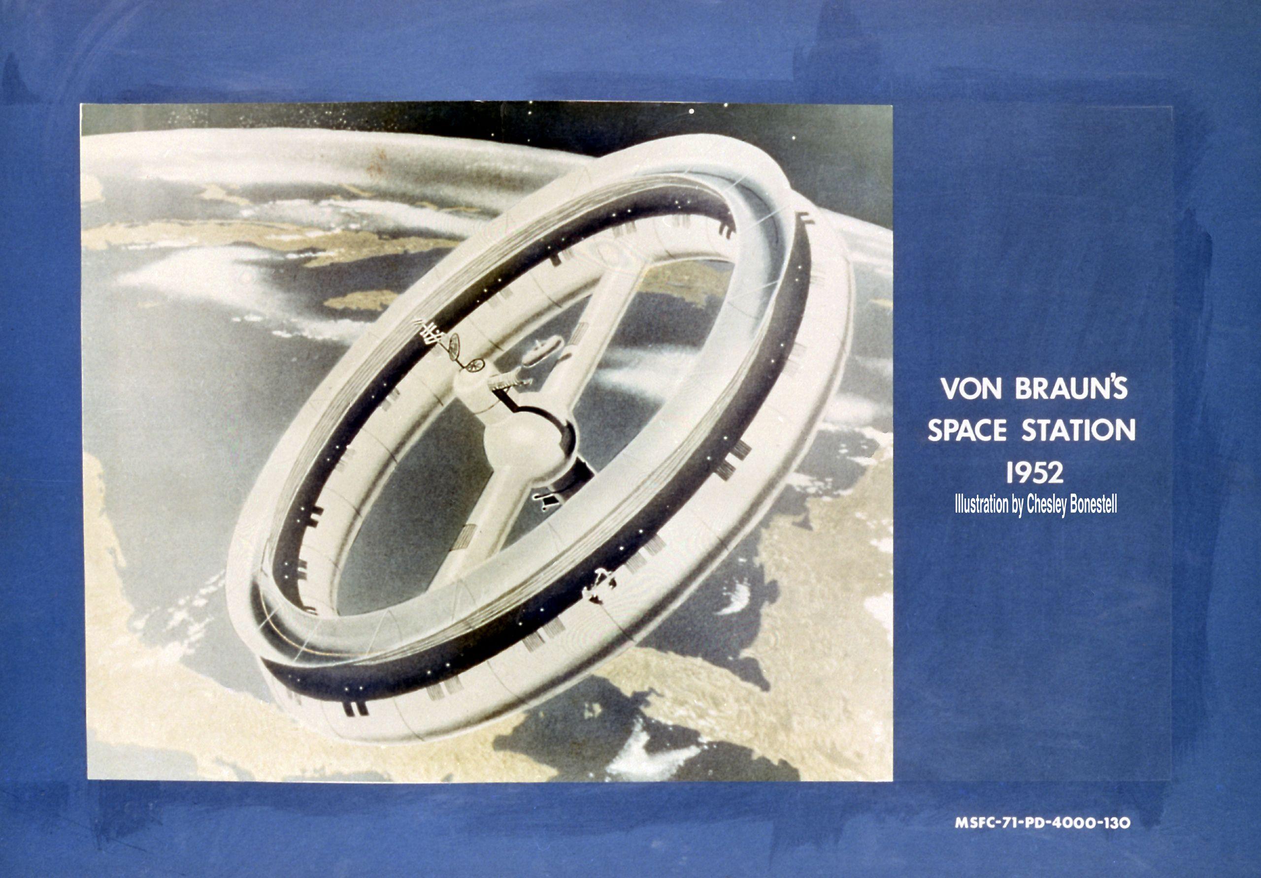 Rotating wheel space station. Wernher von Braun 1952 concept
