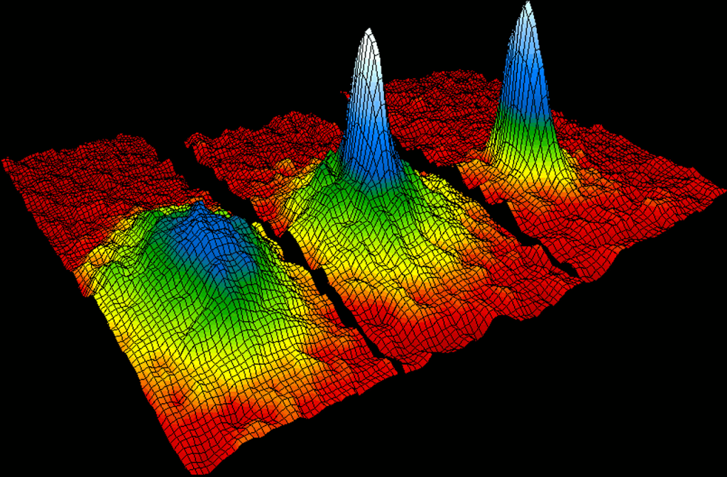 Velocity-distribution data (3 views) for a gas of rubidium atoms, confirming the discovery of a new phase of matter, the Bose-Einstein condensate