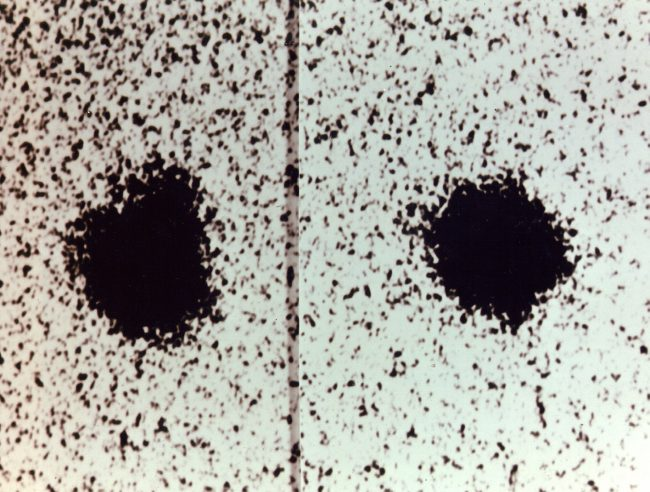 Charon's discovery at the Naval Observatory Flagstaff Station as a time-varying bulge on the image of Pluto (seen near the top at left, but absent on the right). Negative image.