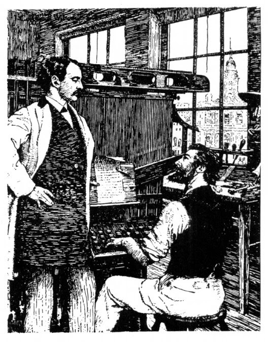 Ottmar Mergenthaler demonstrates the Linotype, Drawing by J. Coggleshall Wilson, 1886