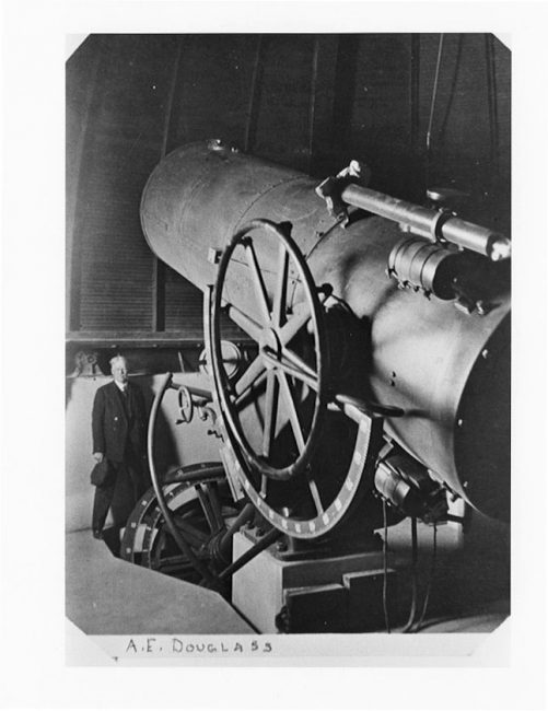 . E. Douglass and the original Steward Observatory 36-inch Telescope (moved to Kitt Peak in 1963)