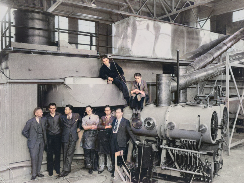 The Cyclotron at Berkeley Laboratory with Ernest Lawrence (3rd from left) Image: Science Museum London