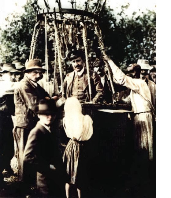 Hess back from his balloon flight in August 1912
