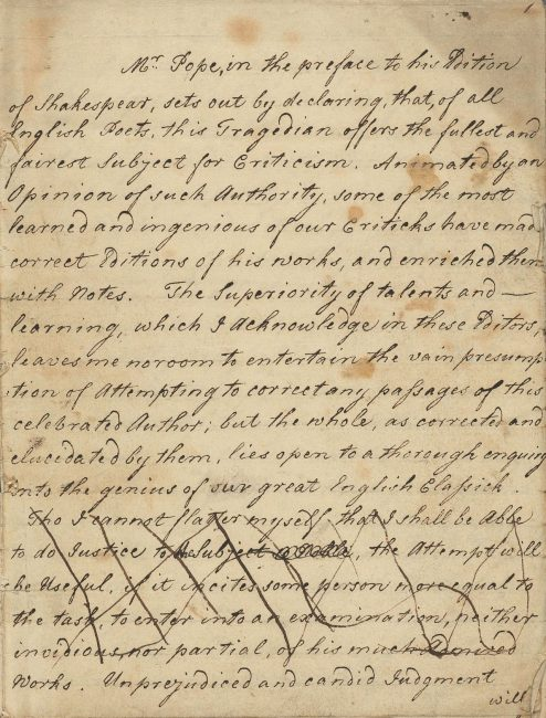 First page of a draft manuscript of An Essay on the Writings and Genius of Shakespear, 1769